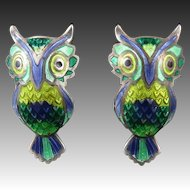 Enamel on 980 Silver Vintage Owl Earrings