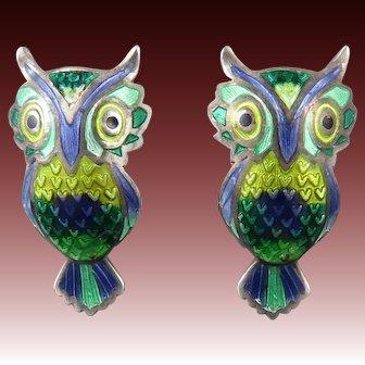 Enamel on 980 Silver Vintage Owl Earrings