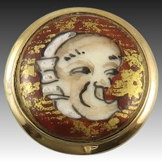 Japanese Satsuma Porcelain Noh Mask Button Ring Sterling Vermeil