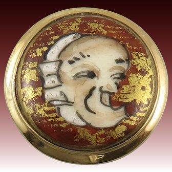 Japanese Satsuma Porcelain Noh Mask Button Ring Sterling Vermeil