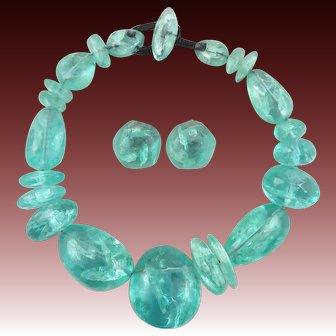 Monies Cracked Ice Necklace and Earrings Set Signed By Gerda Lynggaard Monies