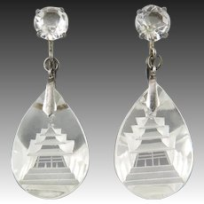 Carved Rock Crystal Pagoda Dangle Sterling Silver Earrings
