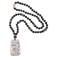 Lavender Jade Dragon and Phoenix Pendant and Amethyst Bead Necklace 29""