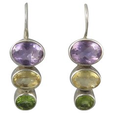 Amethyst Citrine and Peridot Gemstone Stack Sterling Silver Earrings