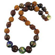 Japanese Ojime Bead Necklace Meiji and Taisho Periods