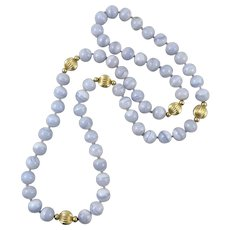 """Long Strand Blue Lace Agate Bead Necklace 34"""""""