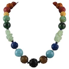 Chinese Carved Gemstone Bead Necklace 22""