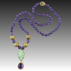 Chinese Export Jade and Amethyst Lavalier Necklace 21""