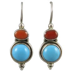 Turquoise and Red Coral Sterling Silver Earrings
