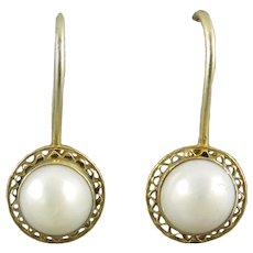 Sterling Vermeil and Cultured Pearl Earrings