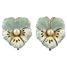 Vintage Enamel on Sterling Silver Pansy Earrings