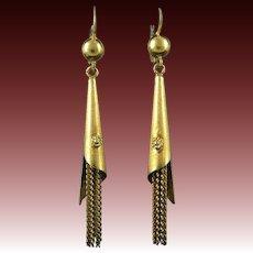 18K Antique Chain Tassel Earrings