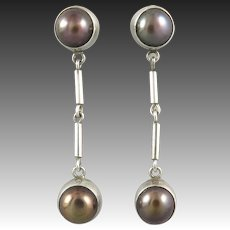 Long Sterling Silver and Black Bronze Cultured Pearl Dangle Earrings