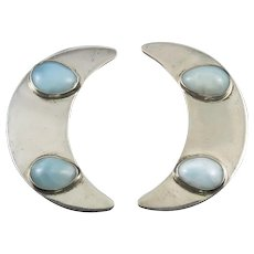 Larimar Crescent Moon Sterling Silver Earrings