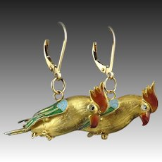 Chinese Export Gilded Silver and Enamel Parrot Dangle Earrings