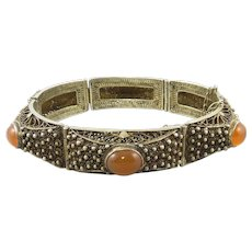 Chinese Export Gilded Silver and Carnelian Panel Bracelet