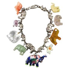 Carved Gemstone and Enameled Silver Elephant Charm Bracelet
