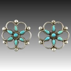 Petit Point Turquoise Flower Sterling Silver Earrings