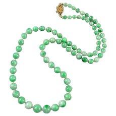 "14K Green Jadeite Jade Necklace Very Fine Quality 23"""