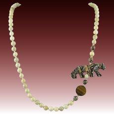 "Leopard Skin Jasper Carved Leopard and River Stone Jasper Bead Necklace 32"""