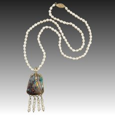 14K Antique Arts and Crafts Boulder Opal Pendant with Natural Seed Pearl Fringe