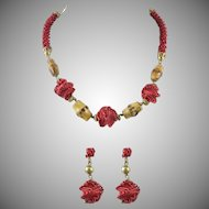 Chinese Art Deco Period Woven Lantern and Bamboo Necklace and Earrings Set