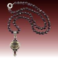 "Faceted Garnet and Golden Smoky Quartz Pendant Necklace 22"""
