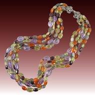 "4 Strand Mixed Gemstone Necklace Peridot Amethyst Garnet Citrine 17"""