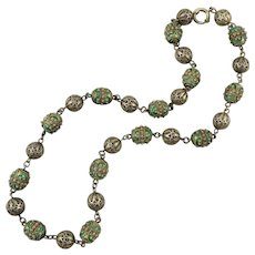 Art Deco Filigree and Enamel 833 Silver Necklace 18.5""