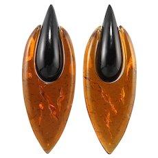 Gerda Lynggaard Monies Amber and Horn Door Knocker Earrings