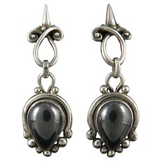 Sterling Silver Gothic Design Hematite Earrings