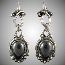 Sterling Silver Gothic Design Hematite Earrings