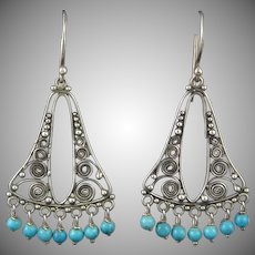 Turquoise and Sterling Silver Filigree Dangle Earrings