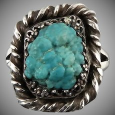 Natural Untreated Seeping Beauty Turquoise Nugget and Sterling Silver Ring