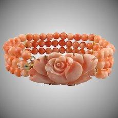 Carved Pink Salmon Coral Rose 3 Strand Bracelet