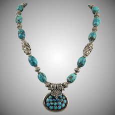 Natural Spider Web Turquoise and Silver Pendant Necklace