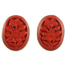 Carved Cinnabar and Sterling Silver Vermeil Earrings