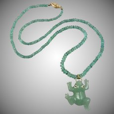 """14K Jade Frog With Sapphire Eyes on an Columbian Emerald Chain 20"""""""