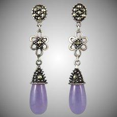 Chinese Lavender Jade and Marcasite Sterling Silver Teardrop Dangle Earrings