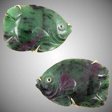 14K Ruby In Zoisite Carved Fish Earrings