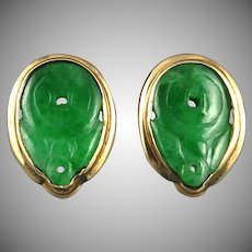14K Carved Jade Translucent Imperial Green Chinese Earrings