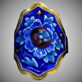 Chinese Export Enamel on Gilt Silver Asian Flower Cuff Style Ring