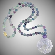 """Chinese Carved Lavender Jade Dragon Pendant with Carved Fluorite Bead Necklace 29"""""""
