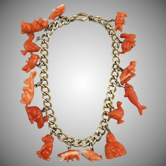 Victorian Carved Salmon and Red Coral Charm Bracelet 12K Gold Fill