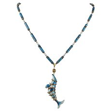 Chinese Export Enamel on Silver Articulated Seal Necklace 25 Inches