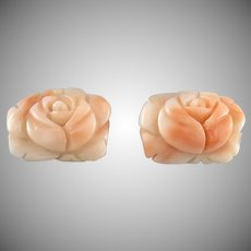 Carved Pink Salmon Coral Rose Earrings