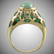 10K Sparkling Emerald and Green Jade Gold Ring