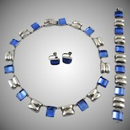 c1930 Sterling Silver and Blue Glass Set from Taxco Necklace Bracelet and Earrings