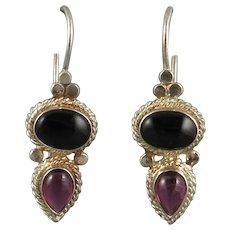 Black Onyx and Garnet Sterling Silver Earrings