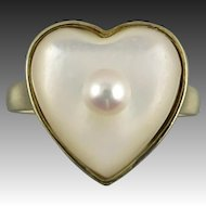 14K Heart Shaped Mabe Pearl Cultured Pearl Ring